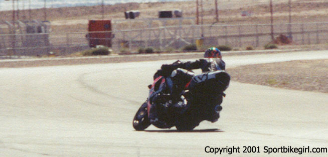 The Sportbikegirl exiting turn 1 LVMS
